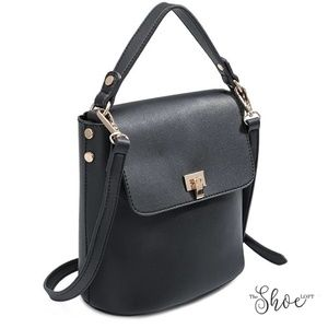 Melie Bianco Bags - Remy Black Luxury Vegan Leather Shoulder Bag